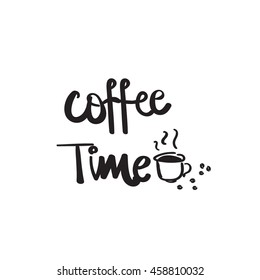 hand drawn coffee time vector lettering word