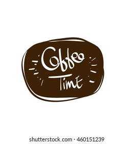 hand drawn coffee time vector lettering