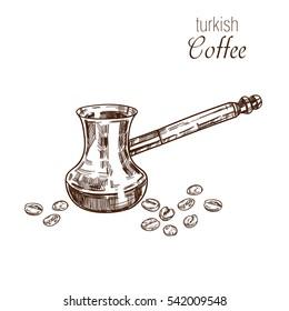 Hand drawn cofffee cezve. Turkish coffee. Vector template.