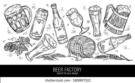 Hand drawn collection of beer and beer ingredients