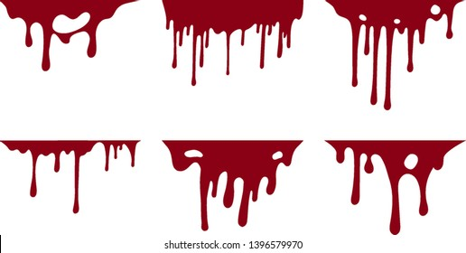 Hand drawn collection of blood paint splatter backgrounds. Horror leak. Bloody Ink drip. Melting graffiti drops. Vector isolated red grunge stain.