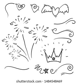 hand drawn collection of curly swishes, swashes, swoops. Calligraphy swirl. Highlight text elements with doodle cartoon style