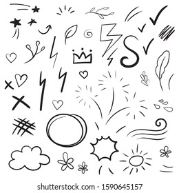 Hand drawn collection of design element. Doodle curly swishes, swoops, swirl, arrow, heart, star, firework and emphasis element.