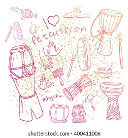Hand drawn collection of doodles of different African, Indian, Brazilian and Oriental drums in pink and orange colors and golden dust on the background.