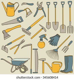 Hand drawn collection of farming tools. Big set of sketch objects. Colorful illustration with tool icons set. Background design