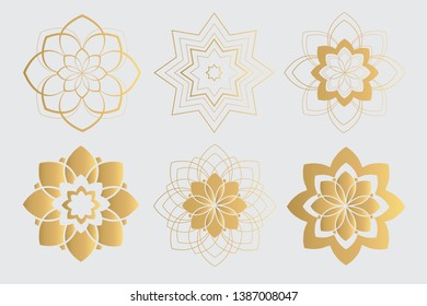 Hand Drawn Collection of Golden Mandala.  Gold Lotus Flowers.