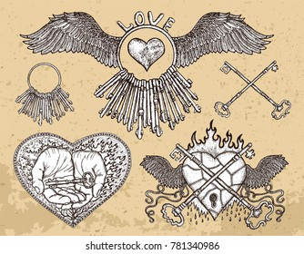 Hand drawn collection with hearts, key in hand, old keys, love symbols on texture. Graphic design collection for antique decorations, card. Hand drawn vintage illustration with Valentine's Day concept
