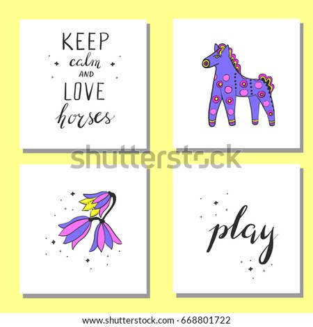 Hand Drawn Collection Horse Themed Cute Stock Vector Royalty Free