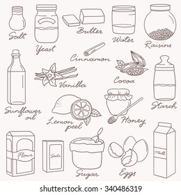 Hand drawn collection of ingredients for baking. Big set of sketch objects. Doodle illustration with food icons and products mix. Decorative icon