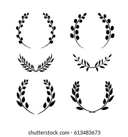 a hand drawn collection of laurel wreaths, a vector set of plant elements; silhouettes isolated on white background
