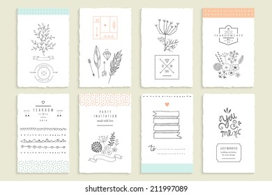 Hand drawn collection of romantic invitations. Wedding, marriage, bridal, birthday, Valentine's day. Isolated. Vector