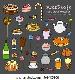 Hand drawn collection of sweets, cakes, ice cream, pies, coffee, tea isolated on chalkboard background.