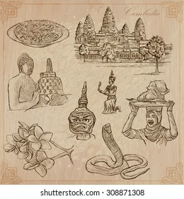 An hand drawn collection, Travel - CAMBODIA. Description, Vector freehand sketches. Editable in layers and groups. Background is isolated. (Things, buildings, etc. are named inside the file.)