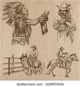 An hand drawn collection, vector pack - WILD WEST, American frontier and Native Americans. Early Western Life in North America. Line art technique.