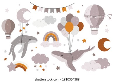 Hand drawn collection with whales, balloons, clouds, rainbows, stars, hot air balloon, bunting for nursery decoration. Perfect for baby shower, birthday, children's party, posters, greeting cards