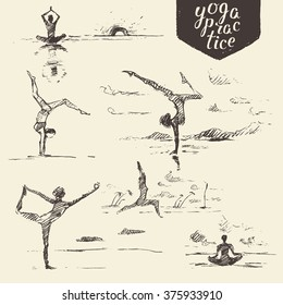 Hand drawn collection of yoga exercises, healthy lifestyle. Vector engraved illustration, sketch