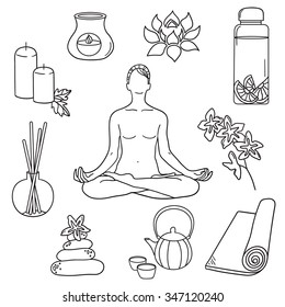 Hand drawn collection of yoga icons. Big set of sketch objects. Black and white illustration with icon set. Decorative elements, background design