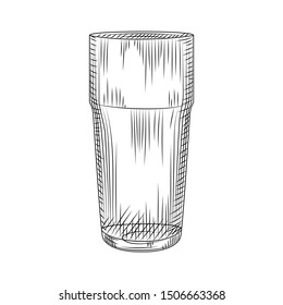Hand drawn Collin glass. Highball isolated on white background. Cocktail glassware sketch . Engraving style. Vector illustration