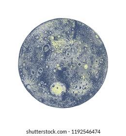Hand drawn coloful Mercury planet. Vector illustration