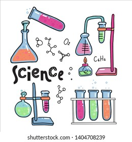 Hand drawn color chemistry and science icons set. Collection of laboratory equipment in doodle style. Kid chemistry and science Elements, formulas, test-tube for children. Lettering quote Science.