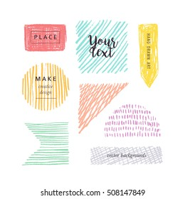 Hand drawn color elements for design. Vector backgrounds