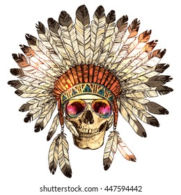 Hand Drawn Color Native American Indian Headdress With Human Skull And Fashion Sunglasses. Sketch Hipster Boho Illustration With Indian Tribal Chief Feather Hat, Skull, Spectacles
