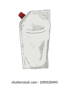 Hand drawn color packing for ketchup or sauce isolated on white background. Colored sketch vector illustration spout pouch with cap for ketchup or sauce.