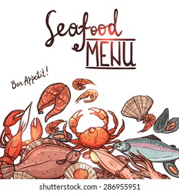 Hand Drawn Color Seafood Menu With Lettering On White Background