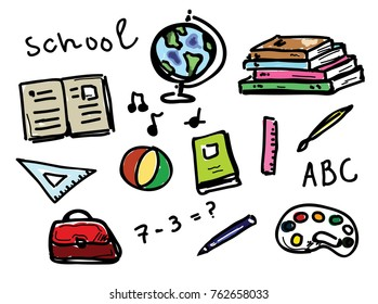 Hand drawn color set of school objects
