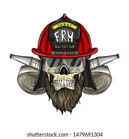 Hand drawn color sketch, fireman skull with helmet, beard, firehose and glasses. Poster, flyer design