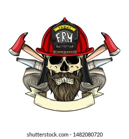 Hand drawn color sketch, fireman skull with helmet, beard and mustaches, firehose and axe. Poster, flyer design
