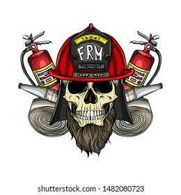 Hand drawn color sketch, fireman skull with helmet, beard, fire extinguisher and firehose. Poster, flyer design