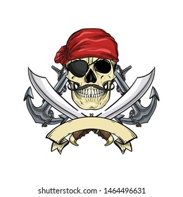 Hand drawn color sketch, pirate skull with sword, mustaches, pirate head scarf, eye patch and anchor. Poster, flyer design