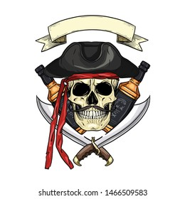 Hand drawn color sketch, pirate skull with sword, mustaches, pirate hat and a bottle of rum. Poster, flyer design