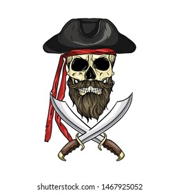 Hand drawn color sketch, pirate skull with sword, beard and mustaches and pirate hat. Poster, flyer design