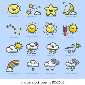 Hand drawn color weather icon,