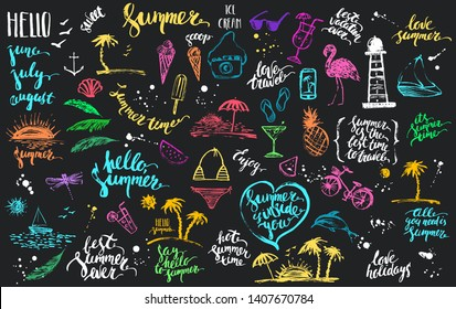 Hand drawn colored chalk summer design element set. Rough colorful sketch of fruit, cocktail, lighthouse, dolphin, boat, beach scenes, palms with summer lettering.