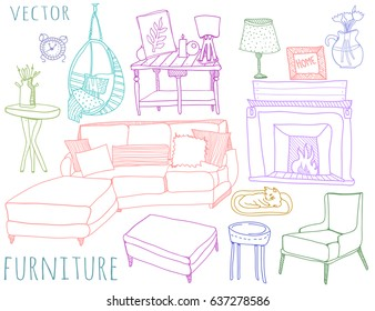 Hand drawn colored furniture. Living room elements. Graphic vector set