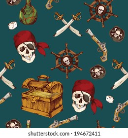 Hand drawn colored pirates seamless pattern with dices skull saber vector illustration