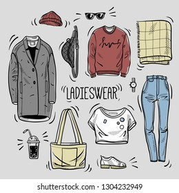 Hand drawn colored set of ladies wear sketches: t-shirt, overcoat, sweatshirt, bag, scarf, jeans, boots and accessories. Vector isolated outline on white background