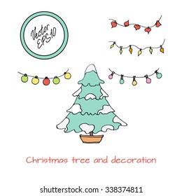 Hand drawn colored sketch of Christmas tree covered with snow. Christmas decoration, new year lights. Vector illustration. Funny kids style.