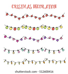 Hand drawn colored sketch of Christmas decoration, new year lights, garlands with different lamps. Vector illustration. Funny kids style. Elements of christmas design.