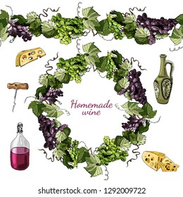 Hand drawn colored  sketch different of wine product objects,endless brush and wreath  of grape twig isolated on white  background.Vector illustration.