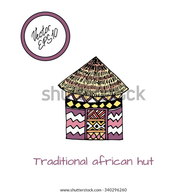 Color Hut Textures: Hand Drawn Colored Sketch Typical African Stock Vector