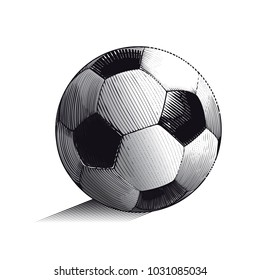 Hand drawn colored vector illustration with soccer or football ball, in engraved outline style