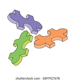 hand drawn colorful 3d puzzle on white background
