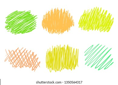 Hand drawn colorful backgrounds on white. Stroke chaotic patterns. Colored illustration. Sketchy elements for design