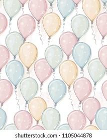 Hand Drawn Colorful Balloons Vector Pattern. Pastel Color Happy Balloons. Watercolor Style Balloons Vector Design. Pink, Blue, Yellow and Gree Mint Flying Air Balloons on a White Background.
