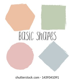 Hand Drawn Colorful Basic Shapes. Vector Geometric Elements with Rough Edges