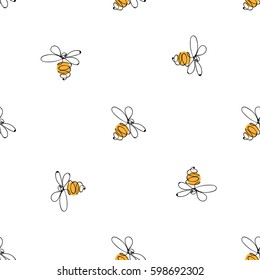 Hand drawn colorful bees. Summer meadow collection. Beautiful design for your textile, paper, cards, web page background. Vector seamless pattern.